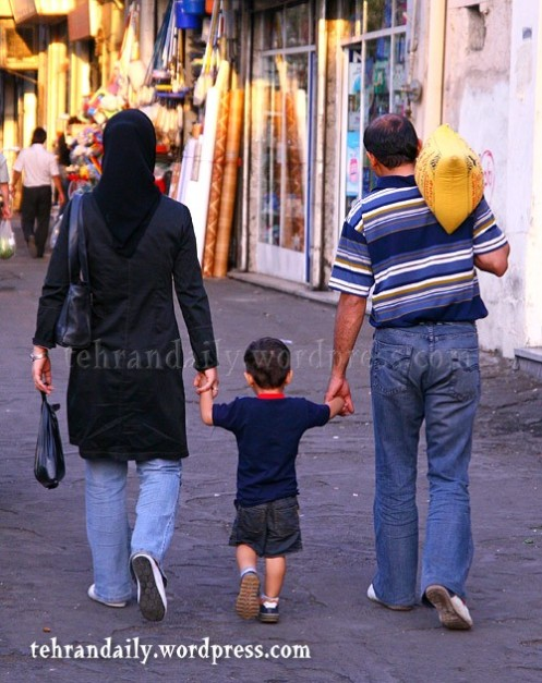 A Family Walking Sidewalk