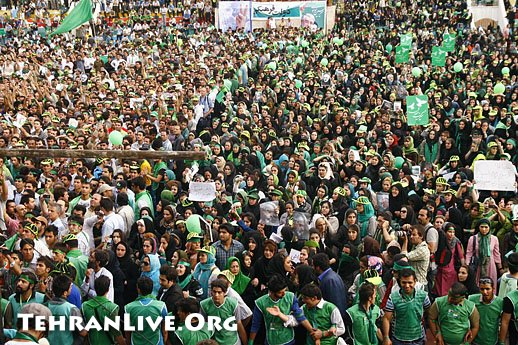 Supporters of Mir Hossein Mousavi in Heidarnia stadium in Tehran